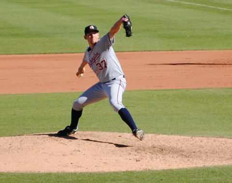 Stephen Strasburg pitches against the Surprise Rafters on November 2.