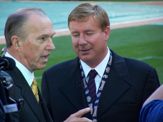 George Michaael interviews Jim Bowden at Nationals first-ever game at RFK Stadium in April, 2005